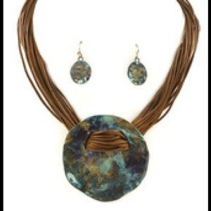 Patina Turquoise Pendant Set